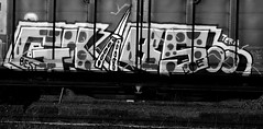 Graffiti is coming home! - My hometown ! Oldenburg, Lower Saxony ( Niedersachsen ), Germany  - near Central Station / City Center (tusuwe.groeber) Tags: street strase shot photographing aufnahme ablichtung oldenburg sony nex7 lowersaxony niedersachsen germany sw bw schwarz weis black white blanco negro eisenbahn bahn gleise gleisanlagen signale railroad railway tracks railwaytracks signals lok lokomotive hauptbahnhof centralstation güterwagen güterwaggon waggon goodswagons freightwagons vagón wagon graffiti