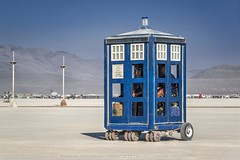 Free for Use of Public (Jacques de Selliers (Temporarily OFF)) Tags: tardis electriccar policebox burningman2018 burningman blackrockcity desert deselliers jacquesdeselliers mutantvehicles artcars burningmanartcars burningmanmutantvehicles