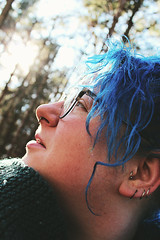 Heady Resolve (MadMadelyne) Tags: blue bluehair forest profile pensive newyear