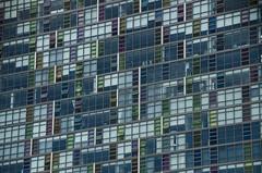 479 - Some Windows (kosmekosme) Tags: windows window square squares line lines geometry geometric architecture building buildingcomplex buildingstructure complex green orange pink curtain curtains appartments living melbourne city capital australia d7000