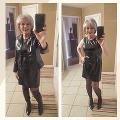Patent Leather Explosion (krislagreen) Tags: tg transgender transvestite cd crossdress dress tgirl patent jacket boots booties hose femme feminized feminization pvc otkboots blackpatent