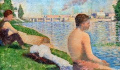 1883 Study for Bathers At Asnieres by George Seurat (KC) (edit) (MO FunGuy) Tags: art museum kansascity 1883 studyforbathersatasnieres georgeseurat