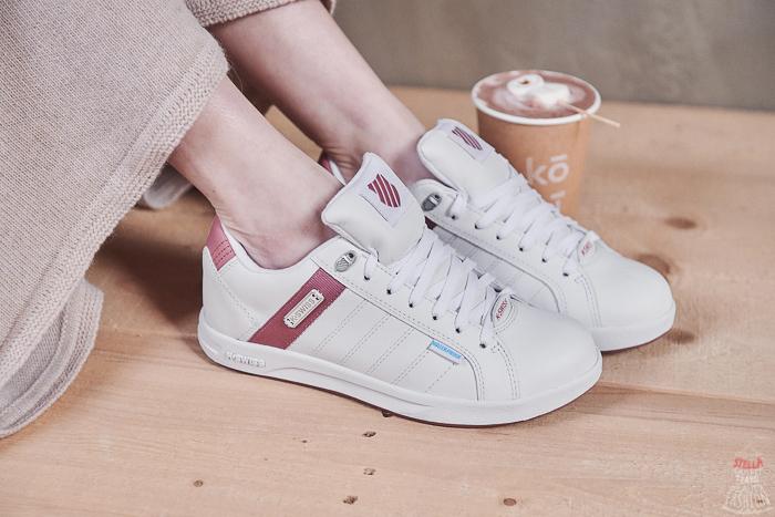 休閒鞋推薦】K-SWISS防水系列小白鞋,乾燥玫