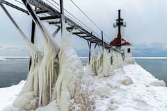 I'll have some ice with that #1 (tquist24) Tags: lakemichigan michigan nikon nikond5300 northpier outdoor stjoseph stjosephlighthouse catwalk clouds cloudy cold frozen geotagged ice lake lighthouse outside pier water winter icicles