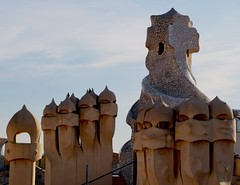 La Pedrera (Douguerreotype) Tags: city chimney barcelona buildings urban gaudi spain catalunya roof architecture