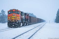 Overtaken (evanlofback) Tags: railroadbnsf spokanesub enginebnsf bnsf4879 c449w h2 coal silver northpole cloudy winter snow