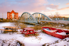 Winter Life in River Canard (Neil Cornwall) Tags: 2019 canada february ontario rivercanard snow winter stjosephschurch bridge river ice sky boat