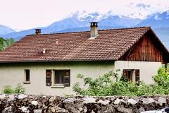 The Alps (Grenoble, France) (Haytham M.) Tags: blue spring chimney house bricks trees sky clouds mountain mountains grenoble france alps