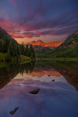 Mirror in my dream (Godspeed70) Tags: maroonbells maroonlake sunrise alpenglow lake water mountain reflection clouds colorado rockies aspen forest landscape serenity dreaming