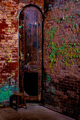 Corner Seat! (GDMetzler) Tags: prison decay abandoned nikon d610 tamron ohio mansfield artistic old 2470mm building stool bricks peeledpaint green red blue rust