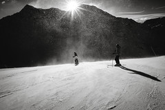 Winfall (lvw27) Tags: snow wind mountains storm sun ski skiing bw black white switzerland travel