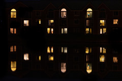 Reflections - On a calm day (Badhri Narayanan) Tags: water reflection mirror champaign illinois abstract street pond