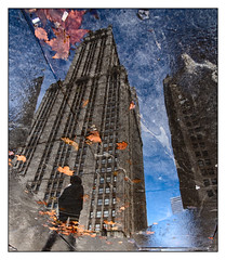 Heading into 2019 - Happy New Year (GAPHIKER) Tags: broadway parkrow newyorkcity nyc manhattan puddle leaves reflection building sidewalk sky