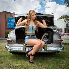 Trunk Strut (evvvvan) Tags: 4vimages promogirl girl model pinup cute hot highheels portrait melbourne australia carshow rockabilly tamronsp2470mmf28divcusdg2 kingpinkuztums beautiful ratstattsnpinups pinupgirl gorgeous car classic brookemorganmodelling ford mercury strawberryblonde shorts denim legs stunning trunk boot gloves doubledenim denimshorts spraytan sexy