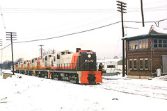 P&W RS3's being delivered by the B&M at Ayer, MA (Houghton's RailImages) Tags: providenceworcester pw alcors3 caboose ayer massachusetts usa bm bostonmaine railroad railway train alco rs3