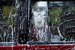 Devil (SaumalyaGhosh.com) Tags: devil demon glass soap water picture red foam street streetphotography graffiti india color xt2