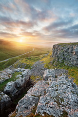 Oxnop Scar (matrobinsonphoto) Tags: yorkshire dales north landscape swaledale oxnop scar outdoors scenery countryside view sunset sunlight golden hour light summer valley cliffs limestone rural scenic uk