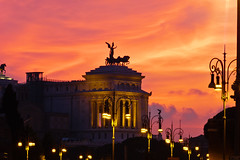 Vittorio Emanuele II Monument (Keith in Exeter) Tags: sunset night rome italy building monument street lamp light statue red sky city silhouette europe roma