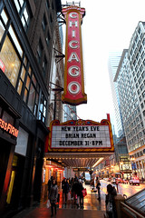 The Chicago Theatre Marquee (Anthony Mark Images) Tags: thechicagotheatremarquee chicagotheatre chicago illinois usa newyearseve brianregan comedian fog skyscrapers evening cars people street subwaystation wetsidewalks nikon d850 theatre
