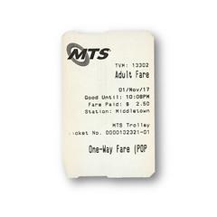 One Way Fare (Railway Ephemera) Tags: railroad railway train transit ticket mts sandiego california trolley
