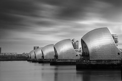 The Barrier (1 of 5) (selvagedavid38) Tags: thamesbarrier river dam london mono black white water sky long exposure monochrome flood tide neutraldensityfilter metallic clouds