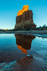 The Organ (Amar Raavi) Tags: theorgan butte rockformation sunset light glow archesnationalpark iconic puddle water reflection ice lifeelevated landscape geology rock moab sandstone travel hiking outdoors utah usa