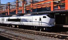 Japan Rail's Haruka passenger train at Kyoto in the mid-90s (Tangled Bank) Tags: jr japan rail japanese asia asian urban train station pasenger equipment stock kyoto 1990s 90s railway railroad