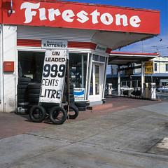 Footscray (Westographer) Tags: footscray melbourne australia westernsuburbs suburbia signage signs typography petrolstation tyres film transparency fujivelvia mediumformat square 6x6