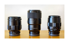 CLOSE UP LENSES FOR SONY - SIZE COMPARISON (Barry Haines) Tags: sony a7r2 a7rii lenses voigtlander macro apolanthar 65mm 110mm f2 f25 f28 g 90mm 55mm 18