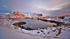 Reine in the morning light (Rudi Verspoor) Tags: sunrise sun shine morning frost cold snow winter february lofoten reine island islands red blue white sky cloud clouds long exposure wideangle travel visit norway water sea loch inlet fishing town scandinavia europe d7200