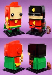 Starman & Doctor Mid-Nite (Andrew Cookston) Tags: lego dc comics starman ted knight doctor dr midnite charles mcnider hooty jsa 1940s goldenage custom moc brickheadz dark green orange red yellow macro toy still life photography andrew cookston andrewcookston