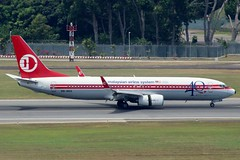 Malaysia Airlines (So Cal Metro) Tags: airline airliner airplane aircraft plane jet aviation airport singapore sin changi 9mmxa malaysian mas malaysiaairlines boeing 737 retro retrojet anniversary