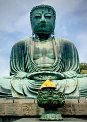 Great Buddha with offering (kimbar/Thanks for 4 million views!) Tags: kamakura japan greatbuddha offering lemons statue sculpture
