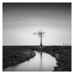 Dutch Polder - The water mill (Marco Maljaars) Tags: longexposure markermeer dutch polder le blackandwhite marcomaljaars mill scharwoude monochrome minimalism sky mood landscape waterscape fence light bw netherlands bird water