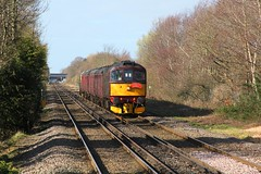 WCR BLS 1Z87 'The Ruby Vampire - 2nd Bite' railtour approaches Eastham Rake Station 24th  March 2019 with BRCW Crompton Type 3 No. 33029© (steamdriver12) Tags: wcr bls 1z87 the ruby vampire 2nd bite railtour station 24th march 2019 brcw crompton type 3 no d6515 lt jenny lewis rn branch line society west coast railways england diesel electric heritage traction eastham rake cheshire