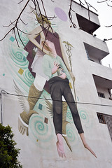 Hanging in the balance (Pensive glance) Tags: graffiti image painting wall mur mural streetart artderue