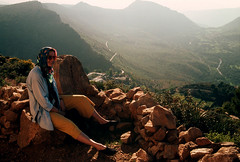 """Morocco_Apr_1991_1-084-60 (hoffman) Tags: anniemoreton atlasmountains backlight daylight essouaria female holiday horizontal lady landscape morocco moroco morrocco morroco northafrica outdoors relaxing scenic sitting tourism travel vacation view woman davidhoffman wwwhoffmanphotoscom davidhoffmanphotolibrary socialissues reportage stockphotos""""stock photostock photography"""" stockphotographs""""documentarywwwhoffmanphotoscom copyright"""