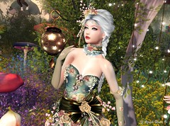 Virtual Trends: Dusty Fairy (Anaelah ~ Miss Virtual Diva ♛ 2018) Tags: dust spring gown dress mesh women woman outfit accessories clothes template silk lace victorian romantic marquise collar necklace bangle hairs headpiece maitreya sofia belleza hourglass slink flower fantasy