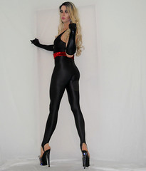 Flexatard Tranny (queen.catch) Tags: tranny catchqueenyoutube drag queen flexatard gilda marx heels dragqueen makeup wig spandex shinylycra nylon ladyboy sissy femme feminization fitness