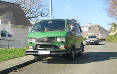A Long Way from Home (occama) Tags: vw volkswagen synchro 1980s 1990s green bus old cornish cornwall uk polish poland temporary plate number alongwayfromhome syncro 4x4