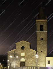 St. Augustine Church under the starred Sky of February (Arezzo) (filippogatteschi) Tags: urbanlandscape startrail stars nightphotography urbanphotography nighttime night tuscany landscape tamron2470 canoneos70d longexposure colorimage starrysky motion architecture church photomerge medievalbuilding belltower facade artphotography arezzo italy italianhistory