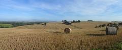 Late Summer near Kingsbridge Devon (guyfogwill) Tags: devon guyfogwill fogwill panorama guy kingsbridge 2016 countryside haybales sherford unitedkingdom gbr southhams sky