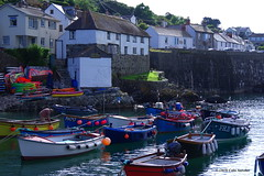 3K003263a_C (Kernowfile) Tags: cornwall cornish pentax coverack cornishharbours thelizardpeninsula sea water trees bushes hills slope sky harbour boats reflections grass cottages houses