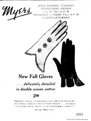 1951  Myers dept store women's glove ad. (albany group archive) Tags: 1950s womens clothing old albany ny photograph picture photo vintage history historic historical