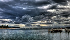 Meaning in the clouds (elphweb) Tags: hdr highdynamicrange nsw australia cloud clouds cloudy sky skies rainy highcontrast bay water sea ocean wharf jetty waterway