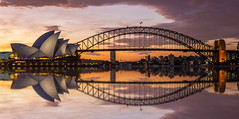 Sunset over Sydney (Jared Beaney) Tags: canon canon6d australia australian travel photography photographer sydney newsouthwales sydneyoperahouse operahouse city sunset sydneyharbourbridge sydneyharbour bridge reflections reflection mrsmacquarieschair views view cityscapes cityscape