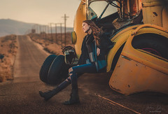 Breakdown ({jessica drossin}) Tags: jessicadrossin road truck woman tires desert alone mountain wwwjessicadrossincom