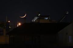 crescent moon (athanecon) Tags: moon crescent crescentmoon newmoon alimos athens greece lunar urban