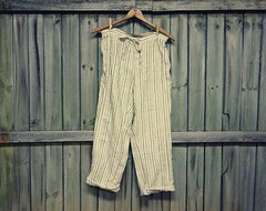 Shabby Chic Bloomers, Cotton Dungarees, Tea Stained Pantaloons, Cotton Bloomers, Boho Chic Bloomers, Shabby Chic Clothing, Upcycled Clothing by PrimitiveFringe (Primitive Fringe) Tags: upcycled clothing boho shabby chic handmade etsy mori girl