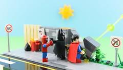 Super pee😂 1/2 (Alex THELEGOFAN) Tags: lego legography minifigure minifigures minifig minifigurine minifigs minifigurines superman batman spiderman wall pee vignette